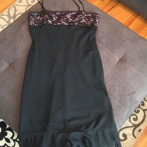 Express pink and black lace dress